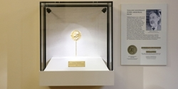 Tjalling Koopmans' Nobel Prize Medal in display case