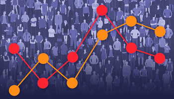 Stock illustration — a mass of people with a line graph overlaid on top (© stock.adobe.com)