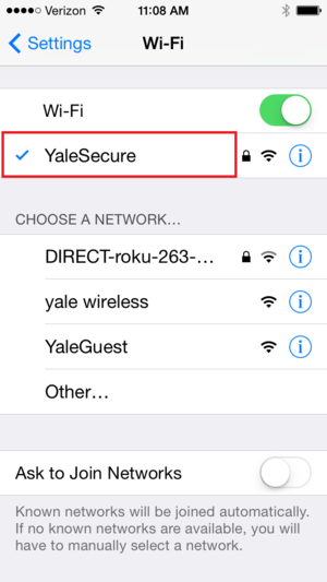 Connected to YaleSecure Wi-Fi