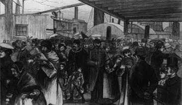 Immigrants disembark at the Castle Garden immigration processing center in New York City