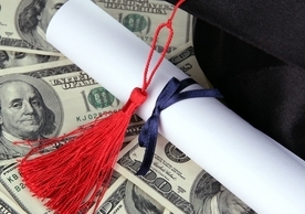 Cash, college degree, and mortar cap