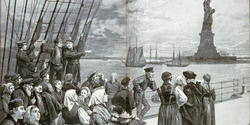 Immigrants on a steerage deck as they approch the Statue of Liberty in the late 19th century